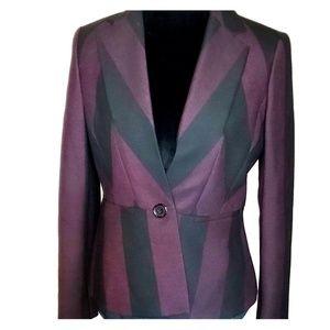 Anne klein stripe structured purple black jacket
